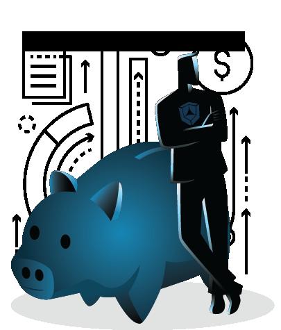 man leaning on oversized piggy bank