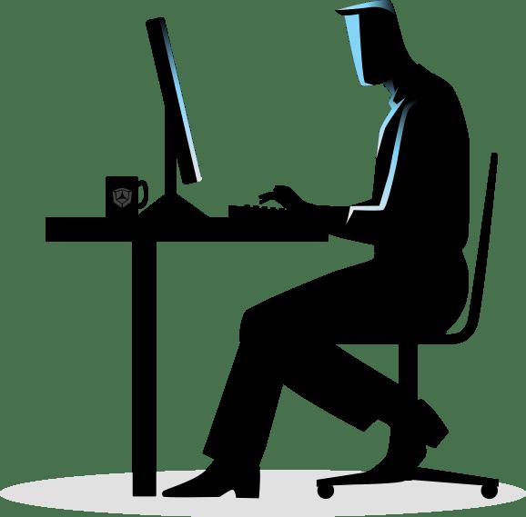 man at desk computer